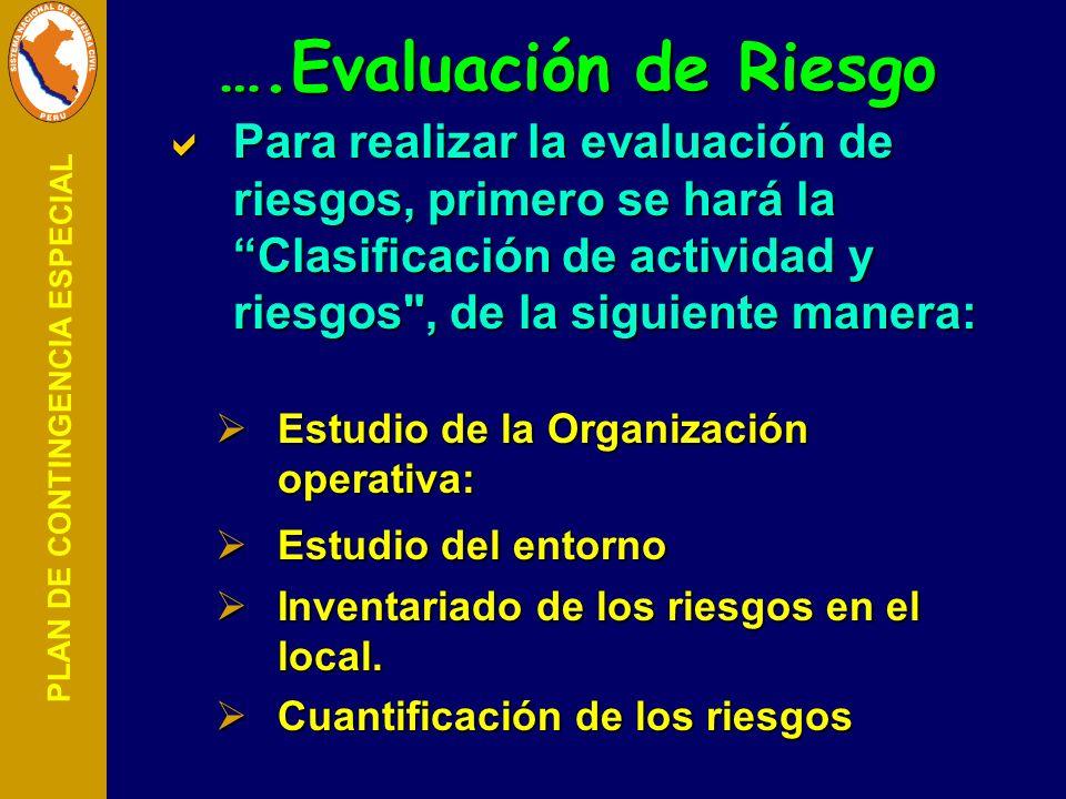 ….Evaluación de Riesgo Para realizar la evaluación de riesgos, primero se hará la Clasificación de actividad y riesgos , de la siguiente manera: