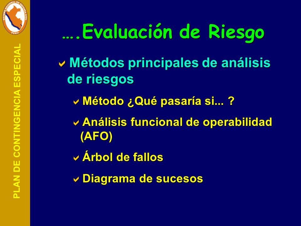 ….Evaluación de Riesgo Métodos principales de análisis de riesgos