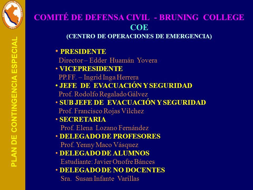 COMITÉ DE DEFENSA CIVIL - BRUNING COLLEGE COE