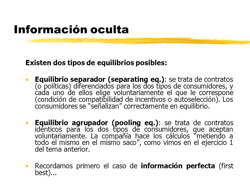Información oculta Existen dos tipos de equilibrios posibles: