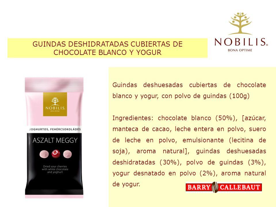 GUINDAS DESHIDRATADAS CUBIERTAS DE CHOCOLATE BLANCO Y YOGUR