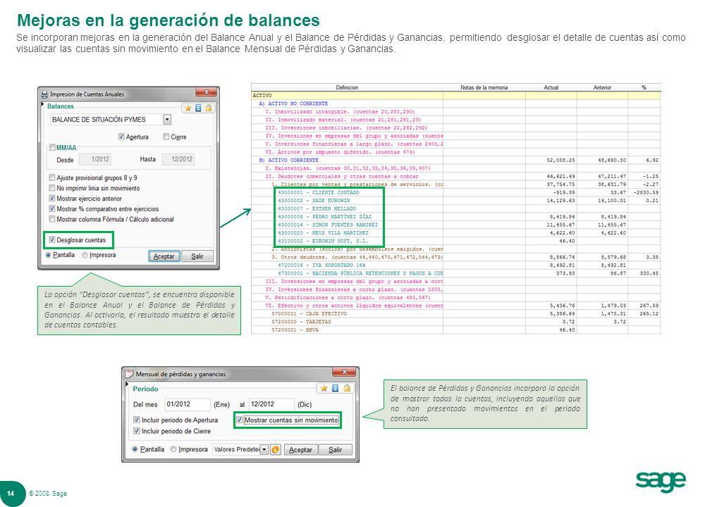 Mejoras en la generación de balances