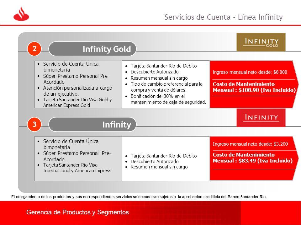Infinity Gold Infinity Servicios de Cuenta – Línea Infinity 2 3