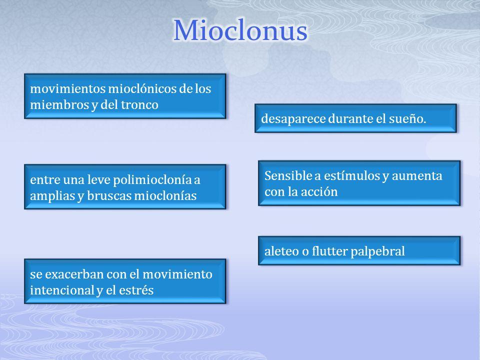 Mioclonus movimientos mioclónicos de los miembros y del tronco