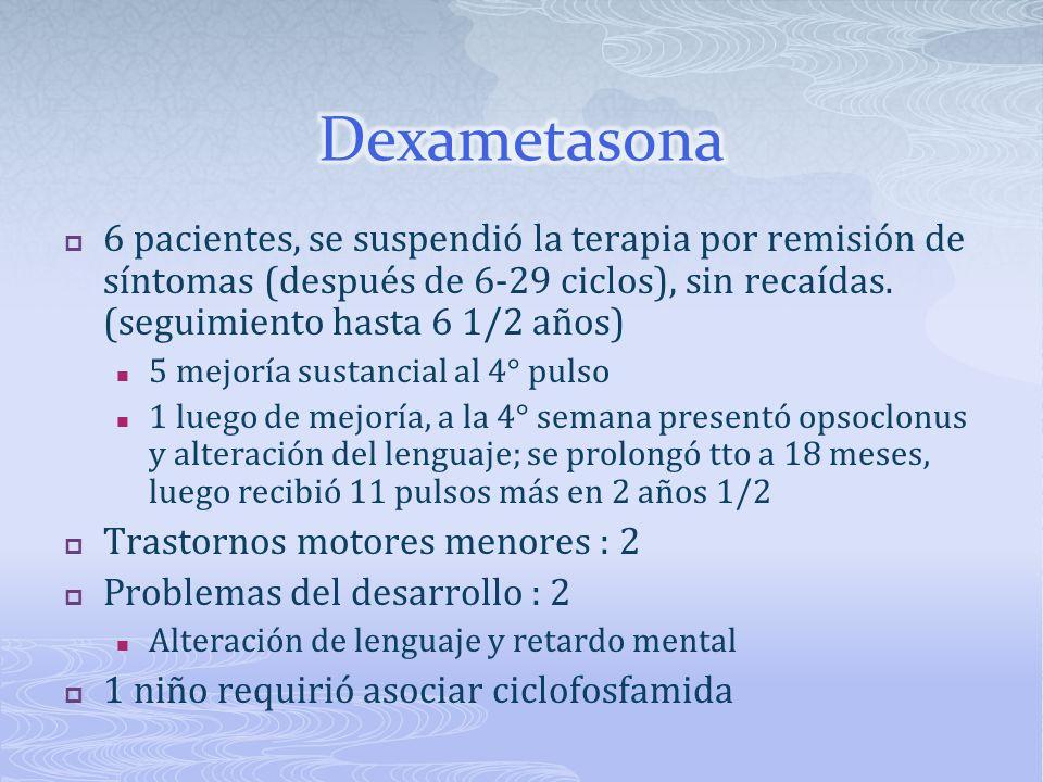 Dexametasona 6 pacientes, se suspendió la terapia por remisión de síntomas (después de 6-29 ciclos), sin recaídas. (seguimiento hasta 6 1/2 años)