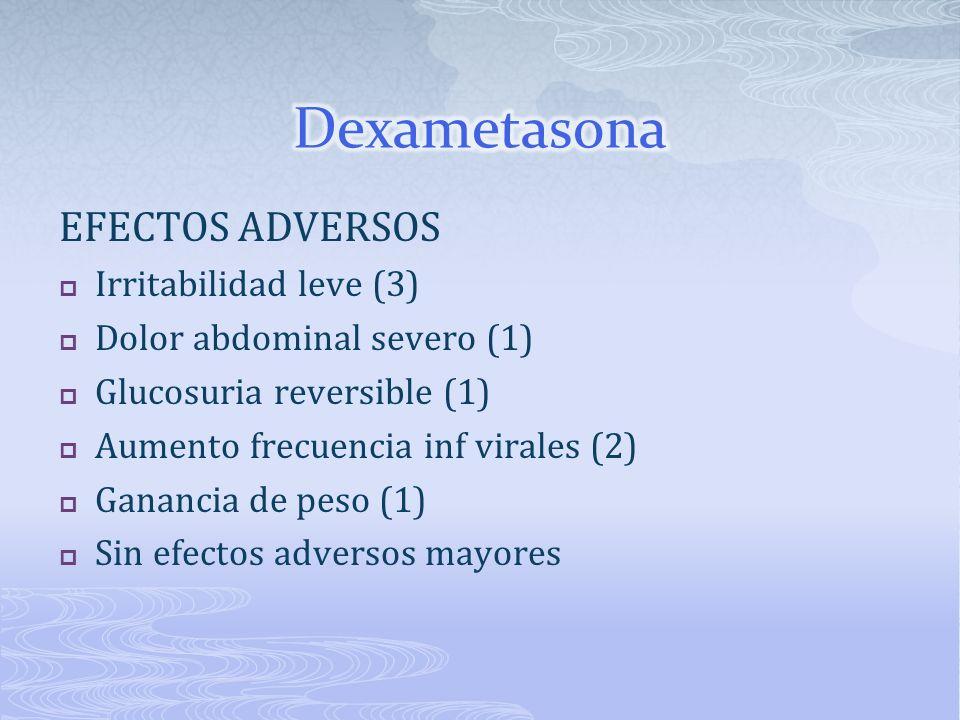 Dexametasona EFECTOS ADVERSOS Irritabilidad leve (3)