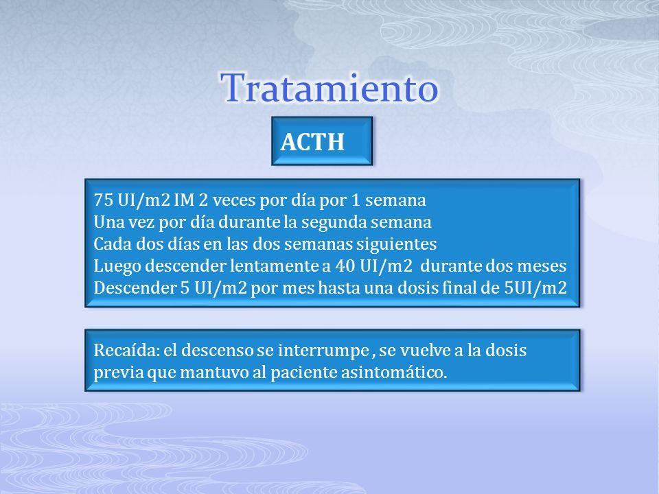 Tratamiento ACTH 75 UI/m2 IM 2 veces por día por 1 semana