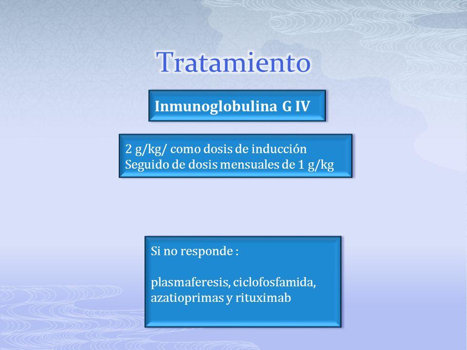 Tratamiento Inmunoglobulina G IV 2 g/kg/ como dosis de inducción