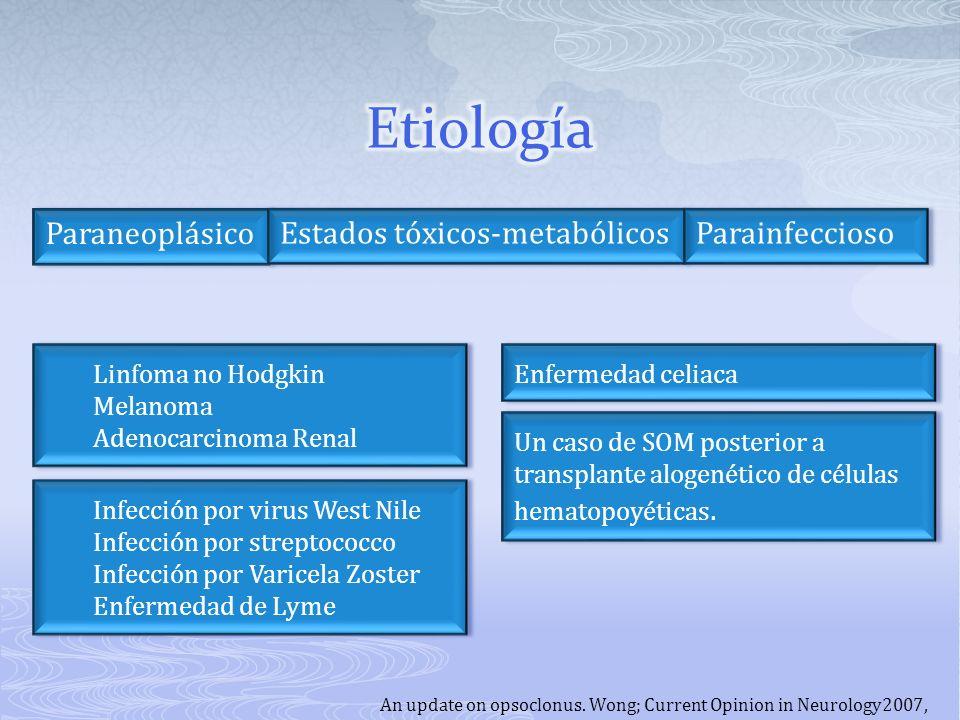 Etiología Paraneoplásico Estados tóxicos-metabólicos Parainfeccioso
