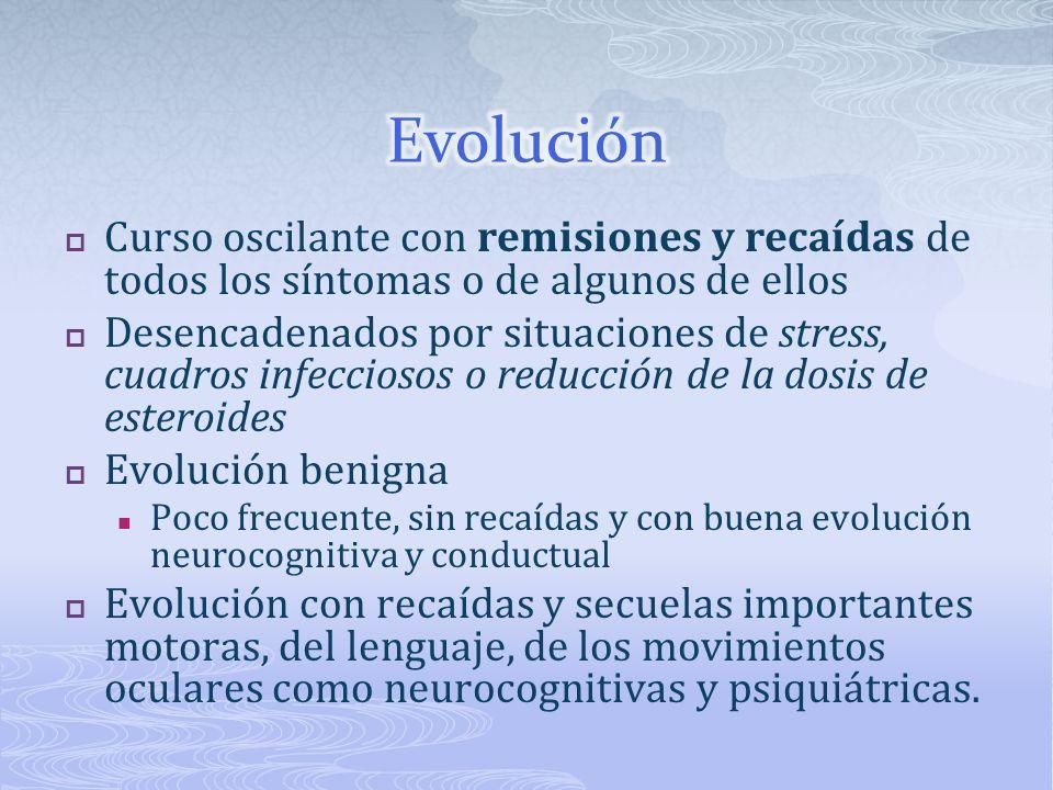 Evolución Curso oscilante con remisiones y recaídas de todos los síntomas o de algunos de ellos.