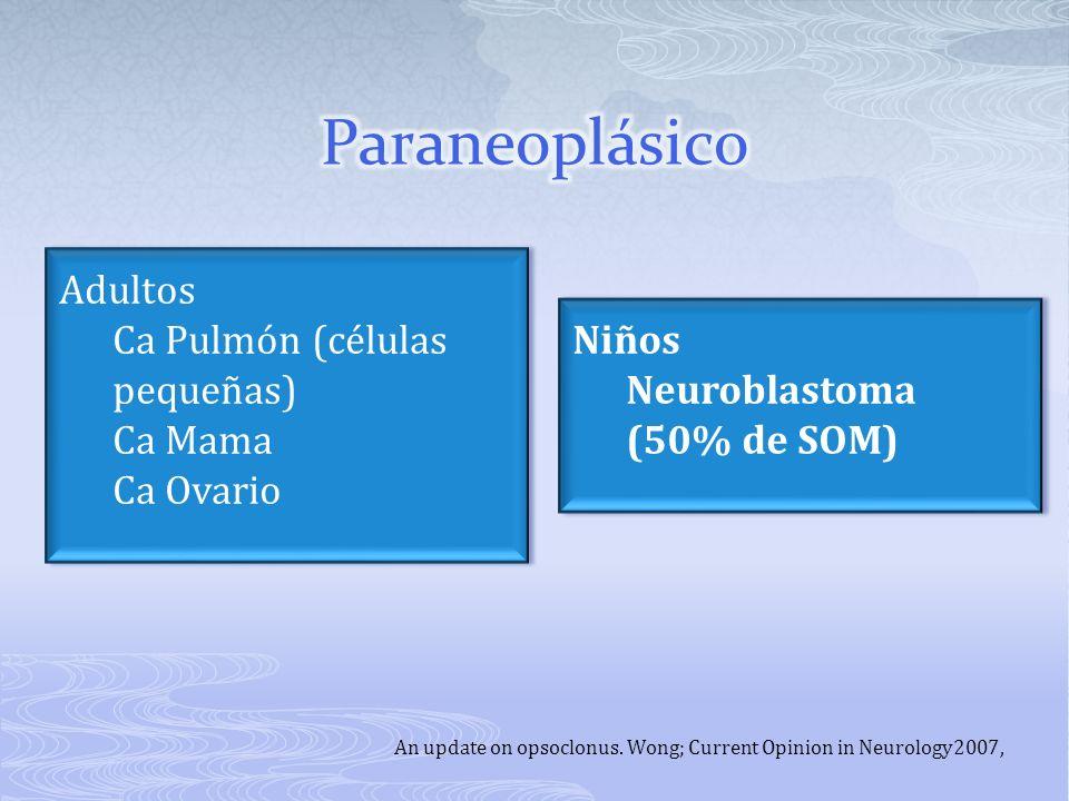 Paraneoplásico Adultos Ca Pulmón (células pequeñas) Ca Mama Ca Ovario