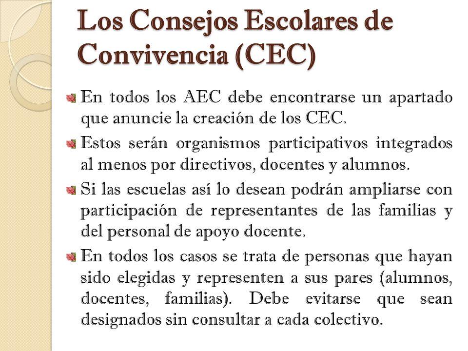 Los Consejos Escolares de Convivencia (CEC)