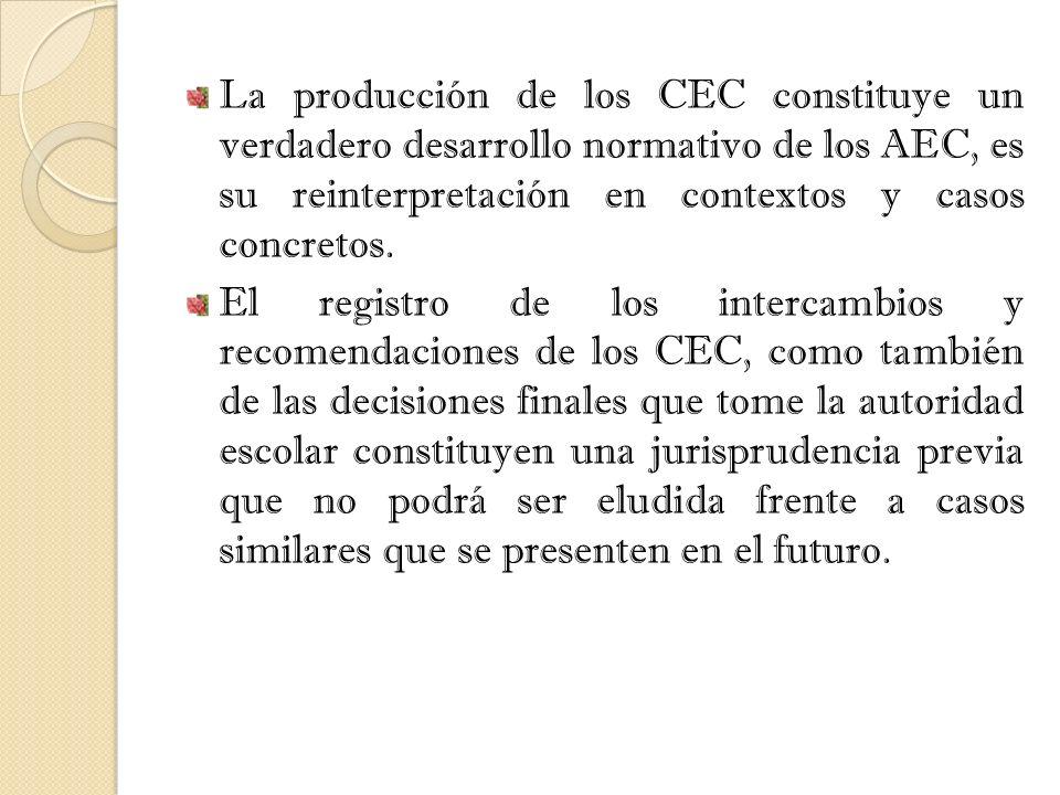 La producción de los CEC constituye un verdadero desarrollo normativo de los AEC, es su reinterpretación en contextos y casos concretos.