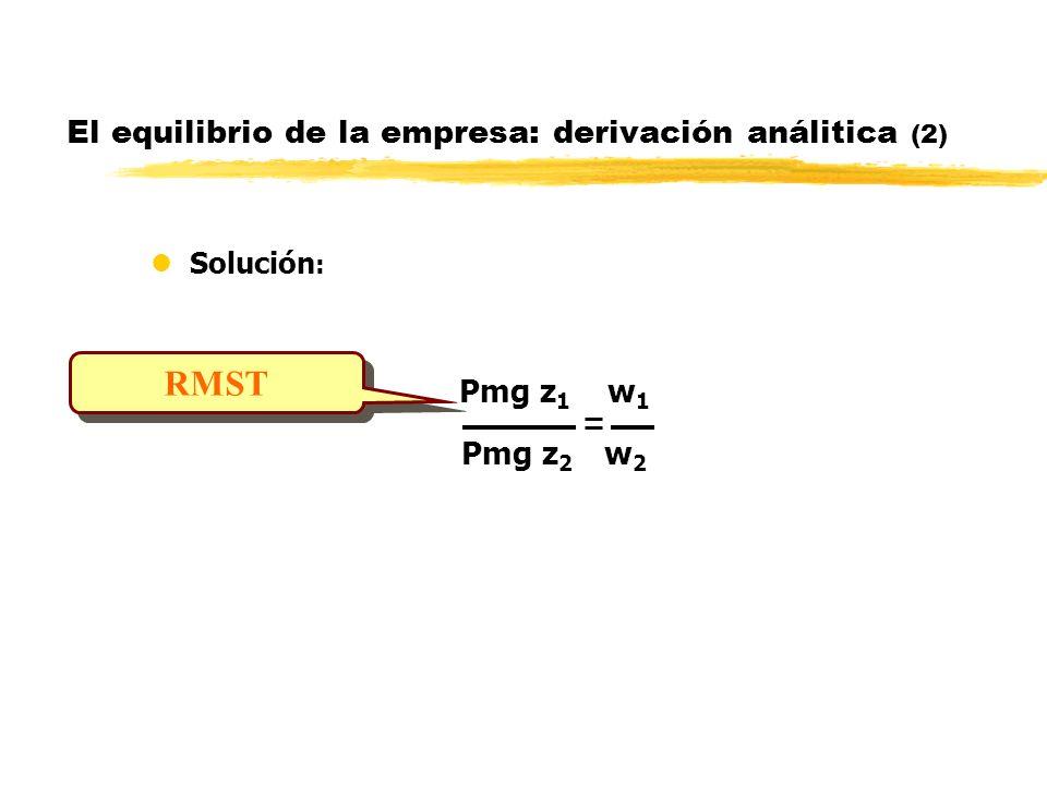 El equilibrio de la empresa: derivación análitica (2)