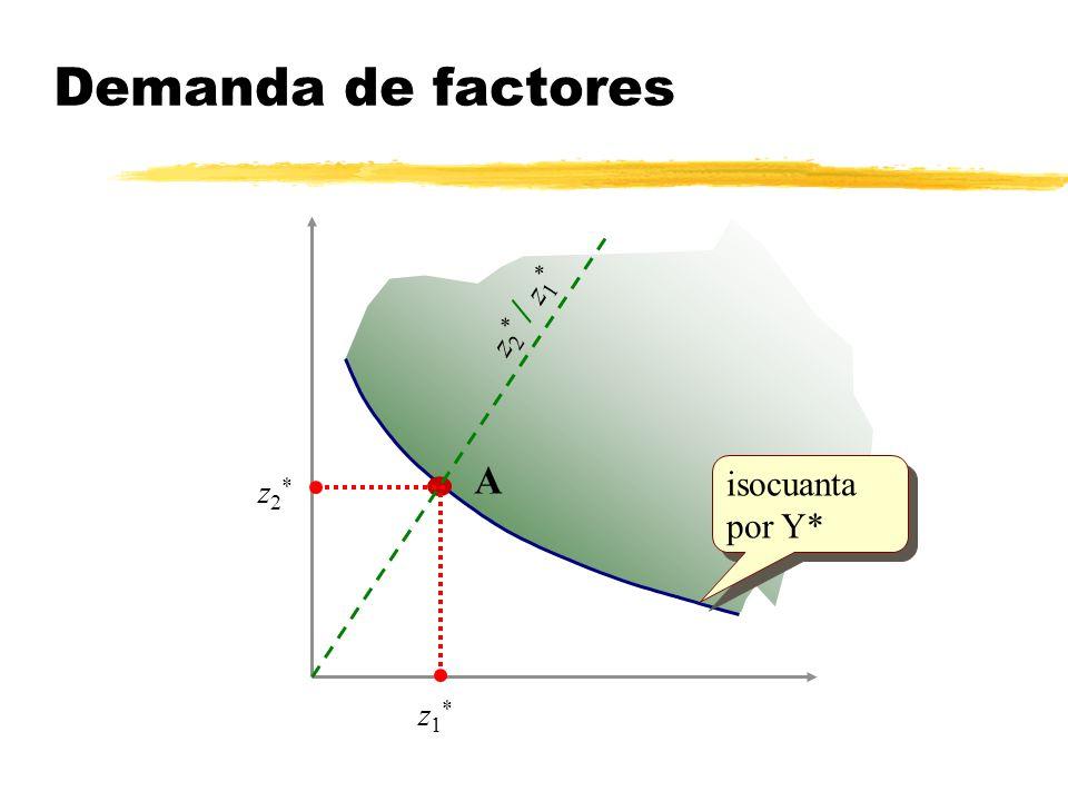 Demanda de factores z2* / z1* A isocuanta por Y* z2* z1*