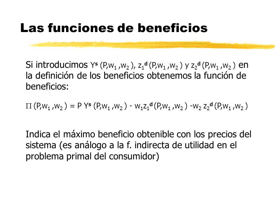 Las funciones de beneficios