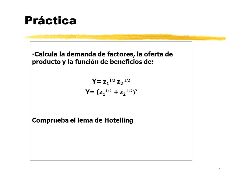 PrácticaCalcula la demanda de factores, la oferta de producto y la función de beneficios de: Y= z11/2 z2 1/2.