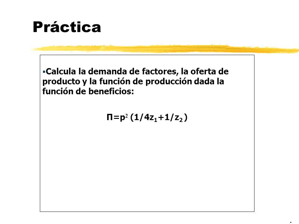 PrácticaCalcula la demanda de factores, la oferta de producto y la función de producción dada la función de beneficios:
