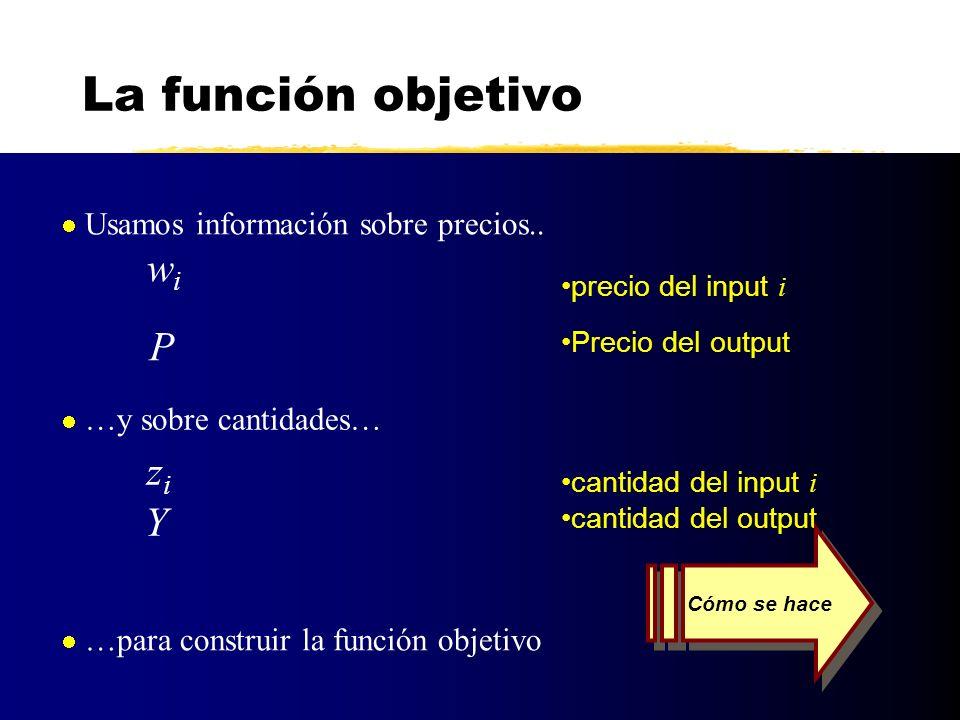 La función objetivo P zi Y Usamos información sobre precios.. wi