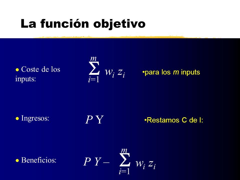 S wi zi S wi zi La función objetivo P Y P Y – m i=1 m i=1
