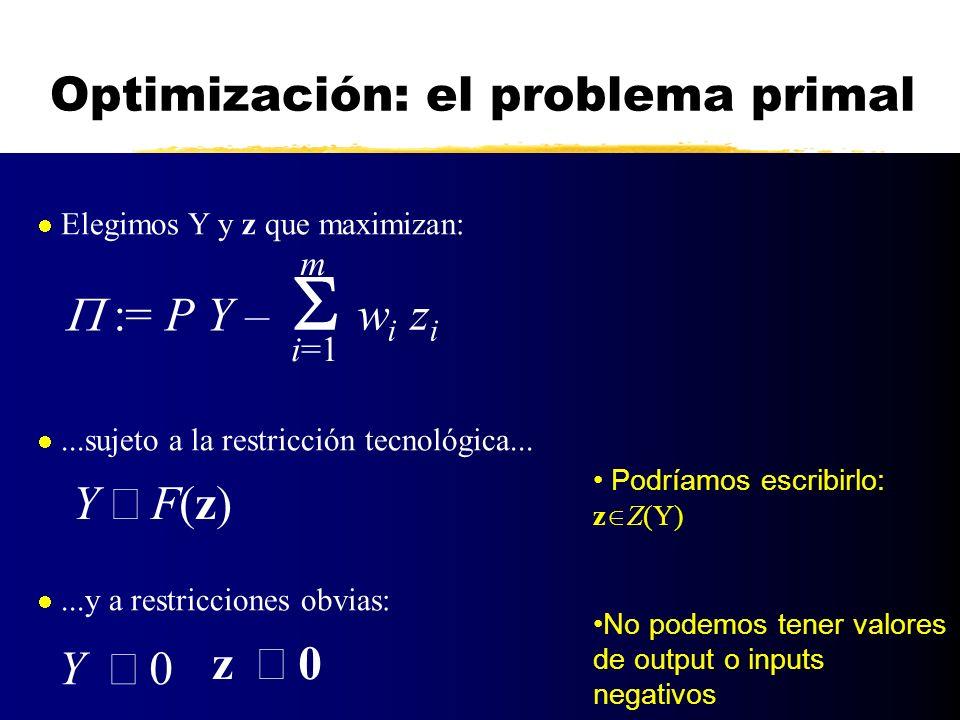 Optimización: el problema primal