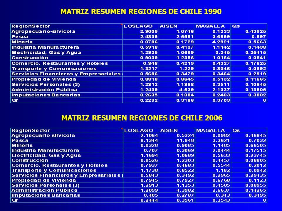 MATRIZ RESUMEN REGIONES DE CHILE 1990