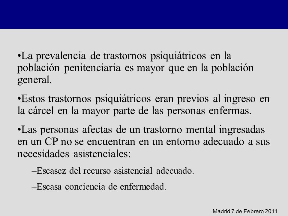 La prevalencia de trastornos psiquiátricos en la población penitenciaria es mayor que en la población general.