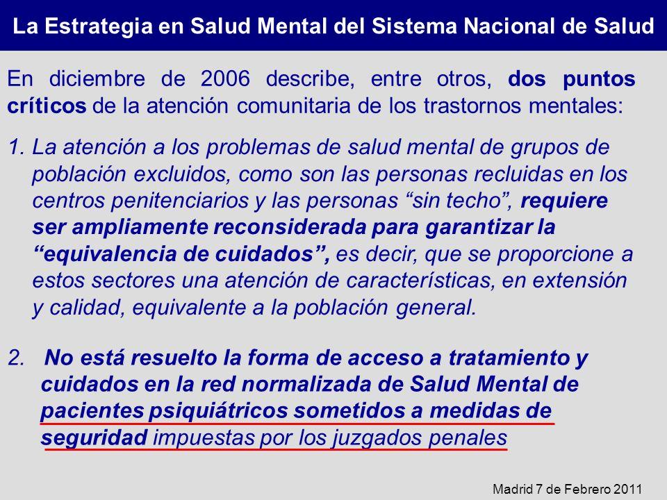 La Estrategia en Salud Mental del Sistema Nacional de Salud