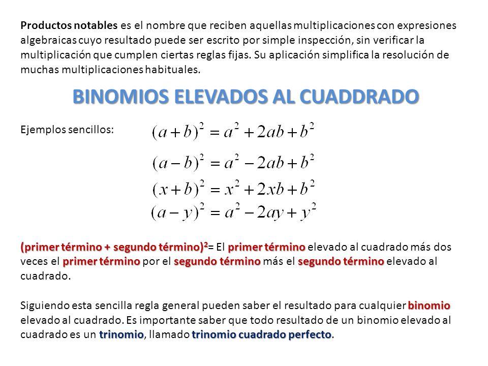 BINOMIOS ELEVADOS AL CUADDRADO