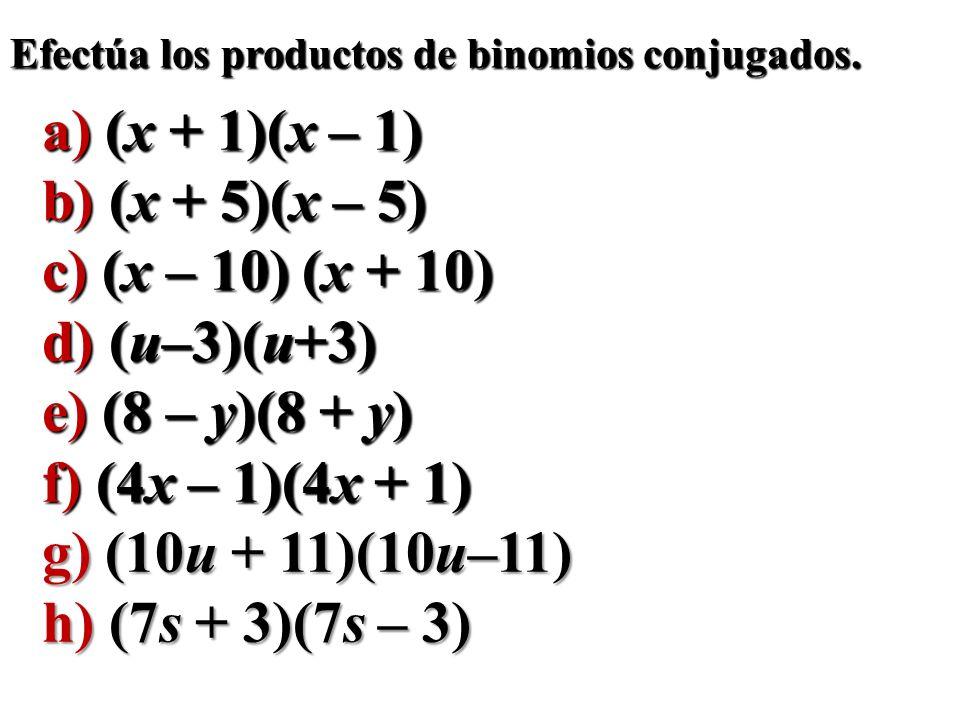 a) (x + 1)(x – 1) b) (x + 5)(x – 5) c) (x – 10) (x + 10) d) (u–3)(u+3)