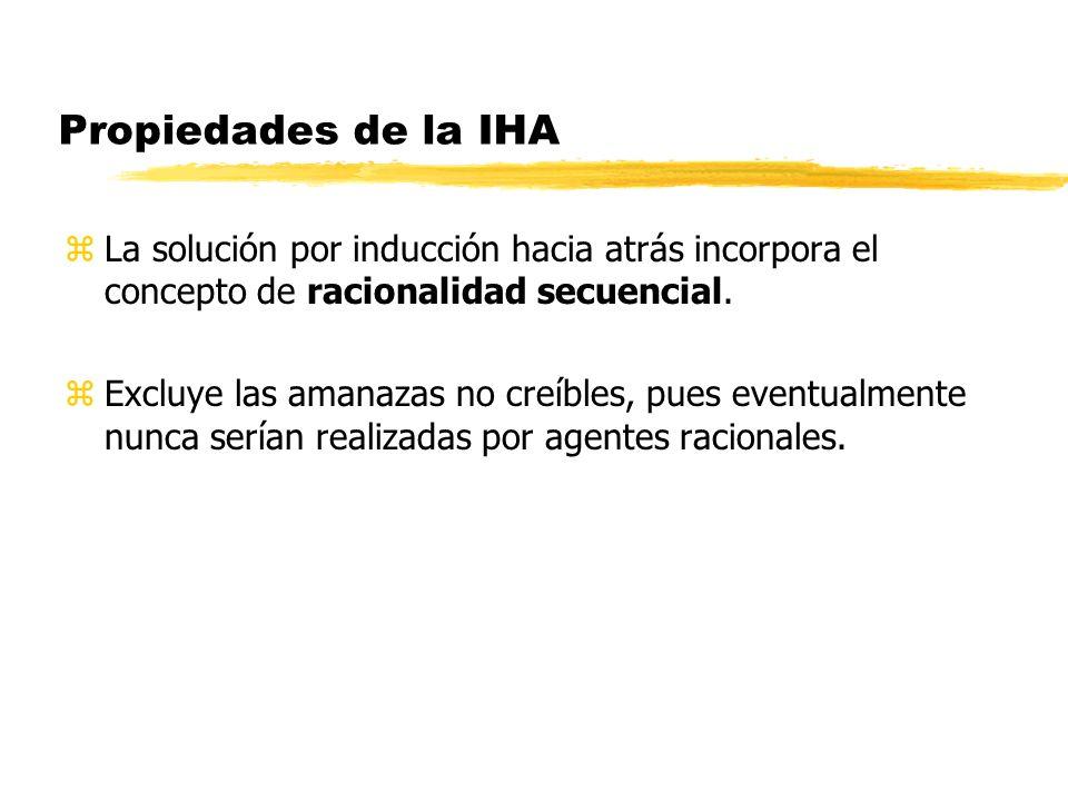 Propiedades de la IHA La solución por inducción hacia atrás incorpora el concepto de racionalidad secuencial.