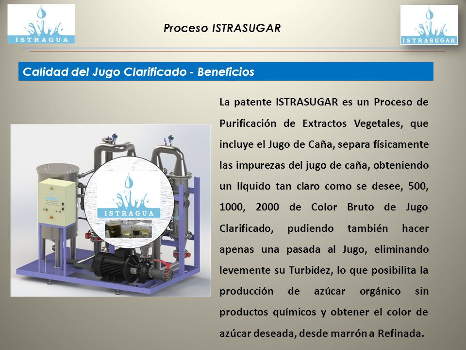 Proceso ISTRASUGAR Calidad del Jugo Clarificado - Beneficios.