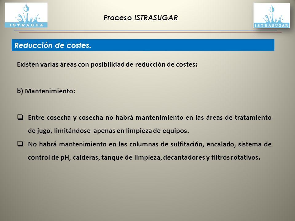 Proceso ISTRASUGAR Reducción de costes. Existen varias áreas con posibilidad de reducción de costes: