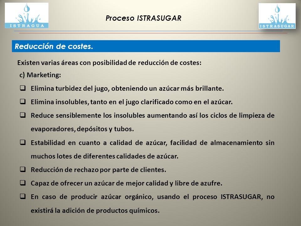 Proceso ISTRASUGAR Reducción de costes. c) Marketing: Elimina turbidez del jugo, obteniendo un azúcar más brillante.
