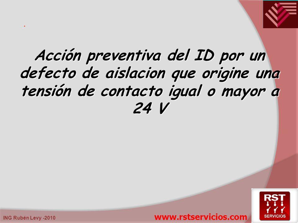 . Acción preventiva del ID por un defecto de aislacion que origine una tensión de contacto igual o mayor a 24 V.