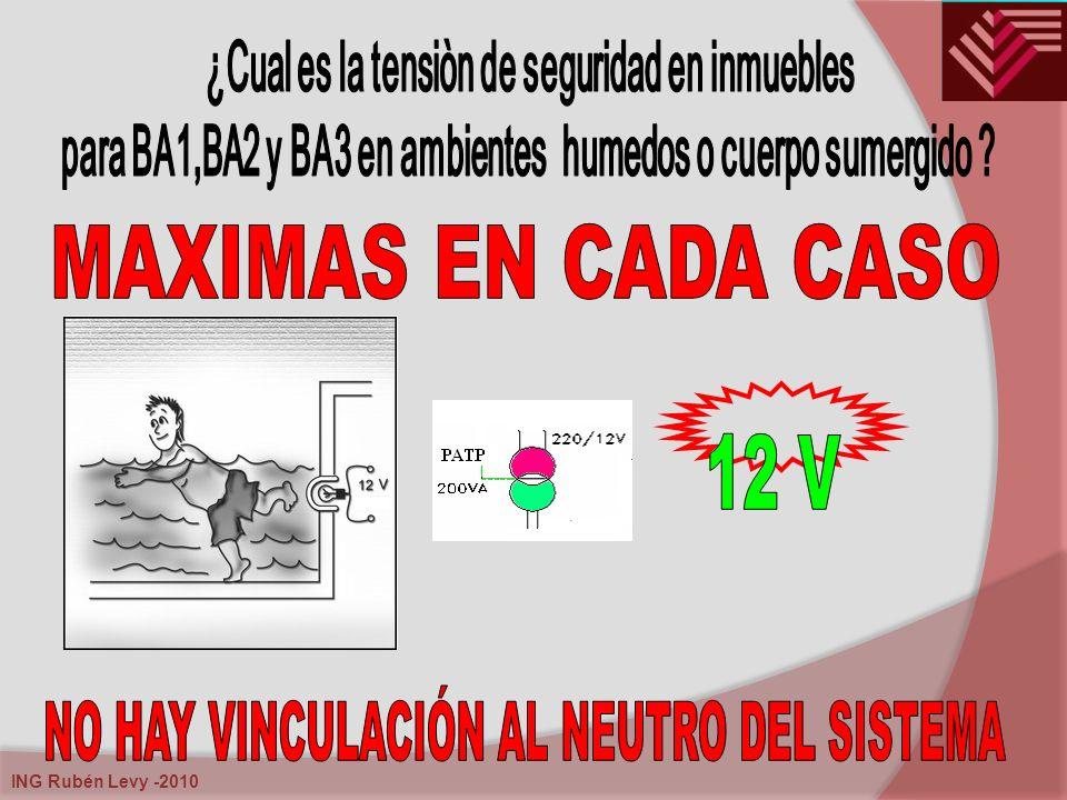 MAXIMAS EN CADA CASO 12 V NO HAY VINCULACIÓN AL NEUTRO DEL SISTEMA