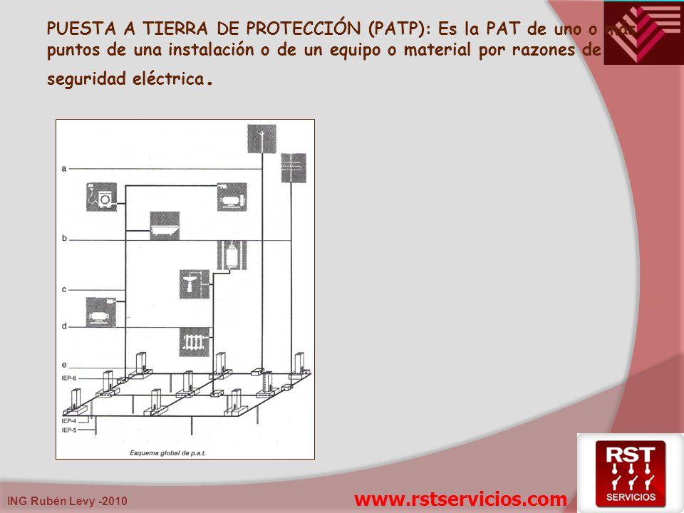 PUESTA A TIERRA DE PROTECCIÓN (PATP): Es la PAT de uno o más puntos de una instalación o de un equipo o material por razones de seguridad eléctrica.