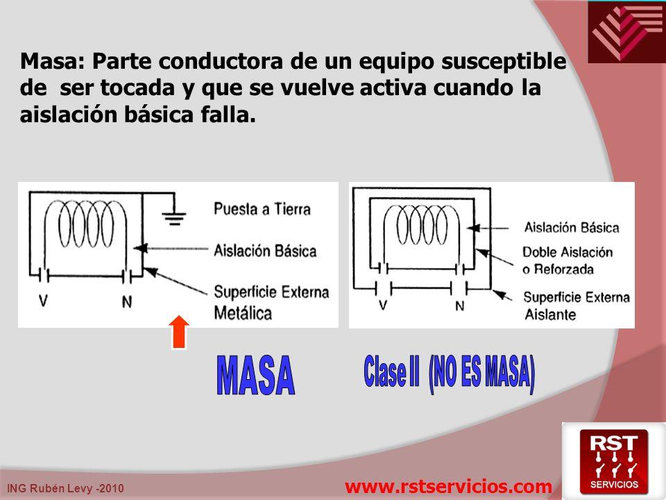 Masa: Parte conductora de un equipo susceptible de ser tocada y que se vuelve activa cuando la aislación básica falla.