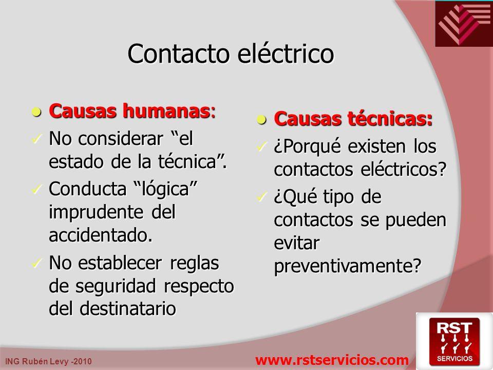 Contacto eléctrico Causas humanas: Causas técnicas: