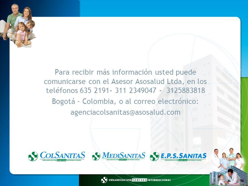 Bogotá – Colombia, o al correo electrónico: