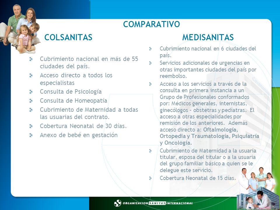 COMPARATIVO COLSANITAS MEDISANITAS