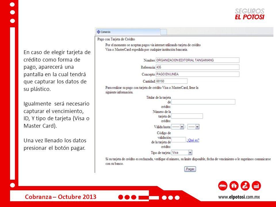 En caso de elegir tarjeta de crédito como forma de pago, aparecerá una pantalla en la cual tendrá que capturar los datos de su plástico.