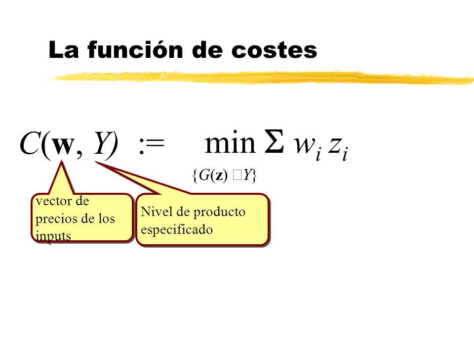min S wi zi C(w, Y) := La función de costes {G(z) ³Y} vector de