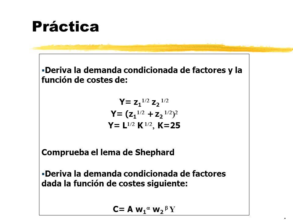 PrácticaDeriva la demanda condicionada de factores y la función de costes de: Y= z11/2 z2 1/2. Y= (z11/2 + z2 1/2)2.