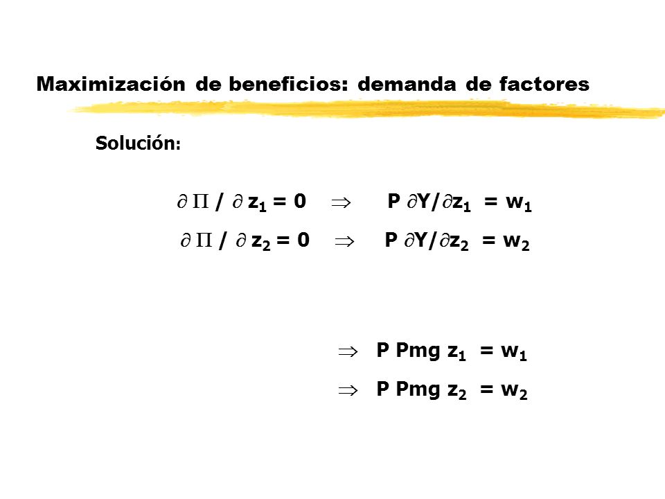 Maximización de beneficios: demanda de factores