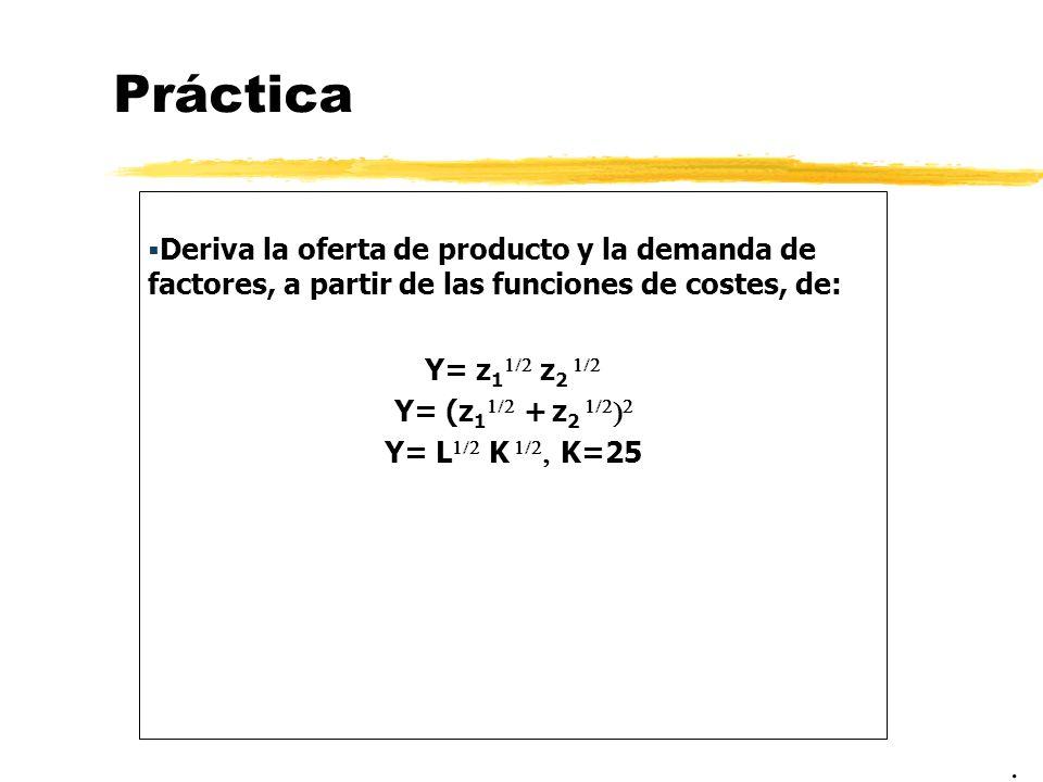 PrácticaDeriva la oferta de producto y la demanda de factores, a partir de las funciones de costes, de: