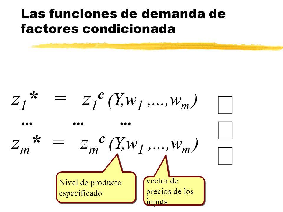 Las funciones de demanda de factores condicionada