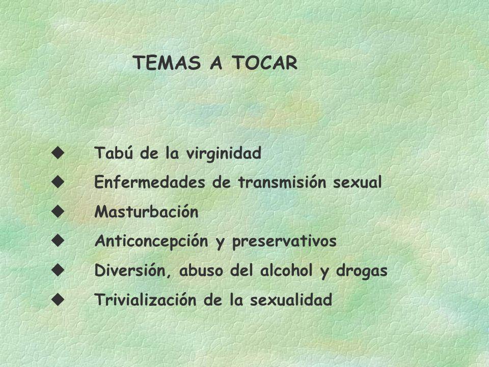 TEMAS A TOCAR Tabú de la virginidad Enfermedades de transmisión sexual