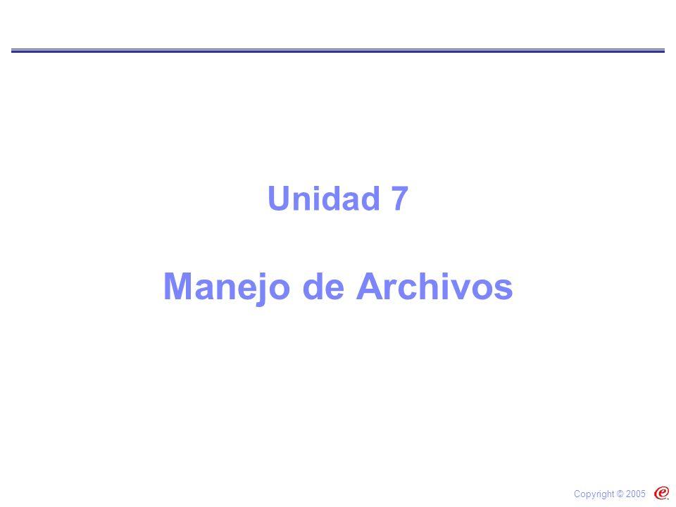 Unidad 7 Manejo de Archivos Copyright © 2005