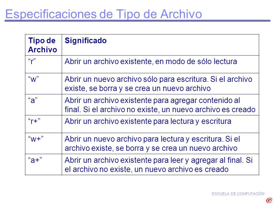 Especificaciones de Tipo de Archivo